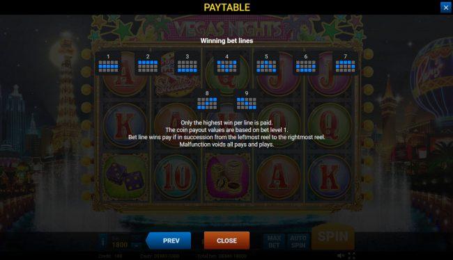 Vegas Nights :: Paylines 1-9