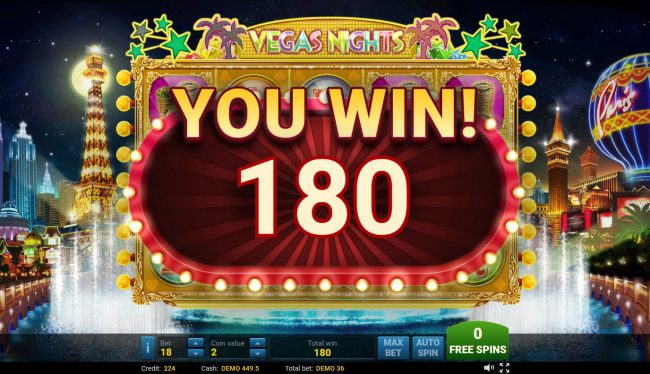 Vegas Nights :: Total free games payout 180 coins