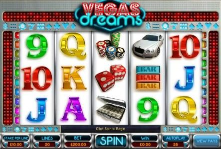 Play slots at Cheeky Riches: Cheeky Riches featuring the Video Slots Vegas Dreams with a maximum payout of $25,000
