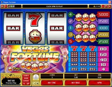 EypoBet featuring the Video Slots Vegas Fortune with a maximum payout of $5,000
