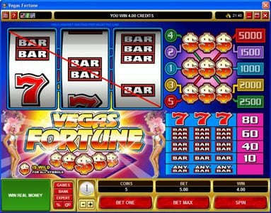 Vbet Casino featuring the Video Slots Vegas Fortune with a maximum payout of $5,000