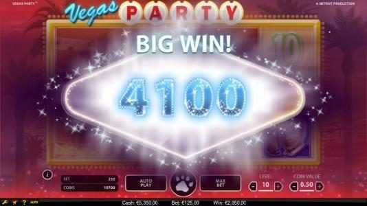 Betting Ways featuring the Video Slots Vegas Party with a maximum payout of $135,000