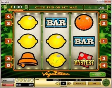 Casumo featuring the Video Slots Vegas Star with a maximum payout of $5,000