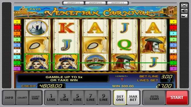 Casumo featuring the Video Slots Venetian Carnival with a maximum payout of $50,000