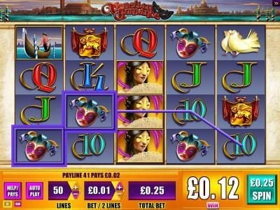 Wicked Jackpots featuring the Video Slots Venetian Romance with a maximum payout of $1,000
