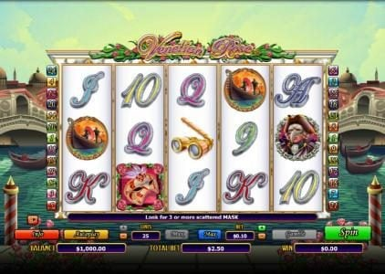 Play slots at Sin Spins: Sin Spins featuring the Video Slots Venetian Rose with a maximum payout of $6,000