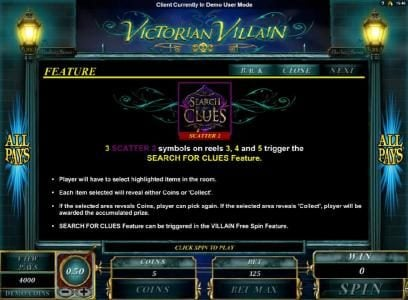 Dreamy 7 featuring the Video Slots Victorian Villain with a maximum payout of $2,500