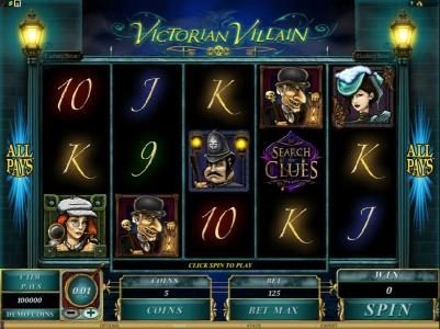 Lucky 247 featuring the Video Slots Victorian Villain with a maximum payout of $62,500