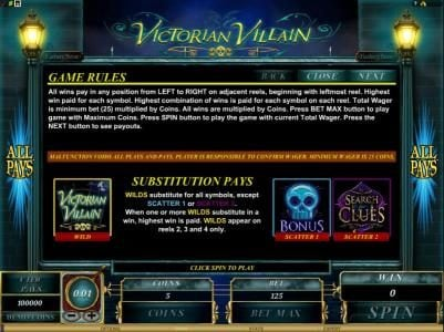 Casino Luck featuring the Video Slots Victorian Villain with a maximum payout of $62,500