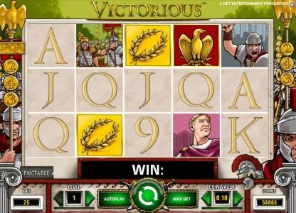 Royal Panda featuring the Video Slots Victorious with a maximum payout of $7,500