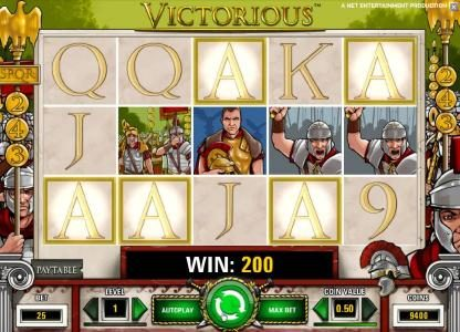 All Wins Casino featuring the Video Slots Victorious with a maximum payout of $7,500
