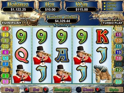 Royal Ace featuring the Video Slots Victory with a maximum payout of $250,000