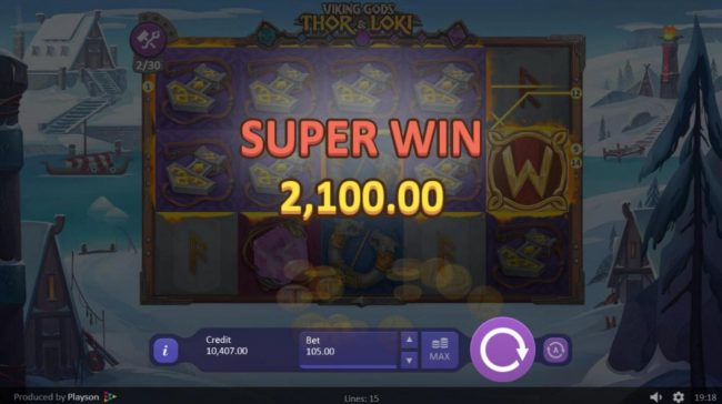Winner Million featuring the Video Slots Viking Gods Thor and Loki with a maximum payout of $150,000