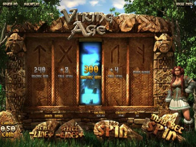 Viking Age :: A 300 instant win is revealed by the symbol selection.