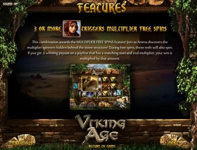Viking Age :: multiplier free spins feature rules