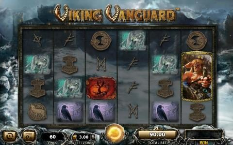 Viking Vanguard :: Main game board featuring five reels and 60 paylines with a $250,000 max payout