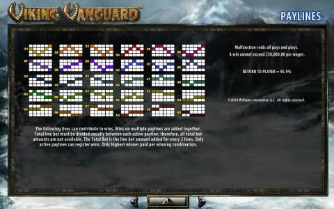Viking Vanguard :: Payline Diagrams 31 - 60. A win cannot exceed 250,000.00 per wager.