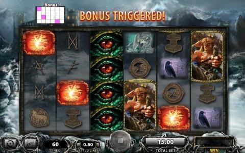 Viking Vanguard :: Three bonus symbols triggers feature.