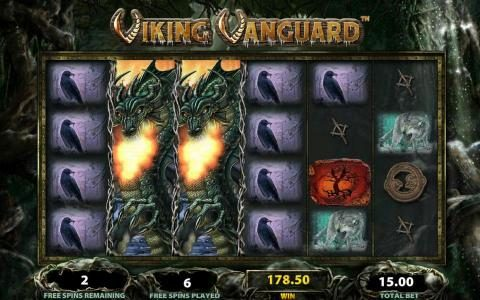 Viking Vanguard :: Multiple winning paylines triggers a big win during the free spins bonus feature!