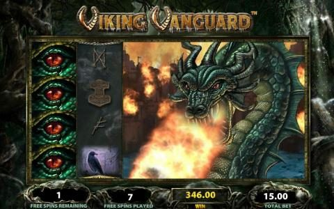 Viking Vanguard :: stacked wilds on reels 1, 3, 4 and 5 leads to multiple winning paylines and a super big payout.