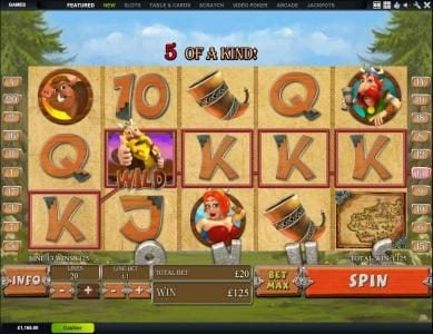 here we have an example of a 5 of a kind on line 13 with a 125 credit jackpot