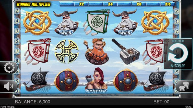 ReelTastic featuring the Video Slots Viking's Glory with a maximum payout of $22,500