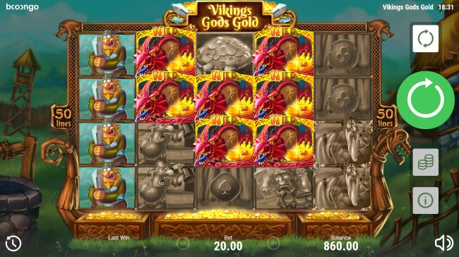 Viking's Gods Gold :: Multiple winning paylines triggers a big win