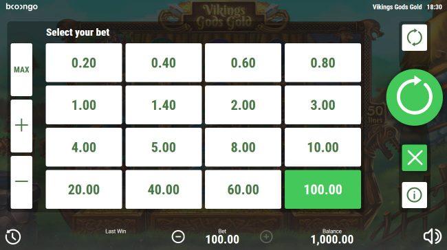 Viking's Gods Gold :: Betting Options