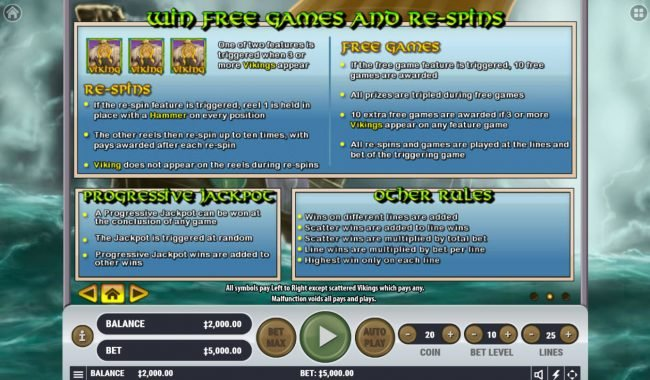 Goodwin Casino featuring the Video Slots Viking's Plunder with a maximum payout of $2,500,000