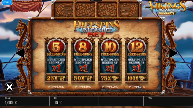Fika Casino featuring the Video Slots Vikings Unleashed Megaways with a maximum payout of $250,000