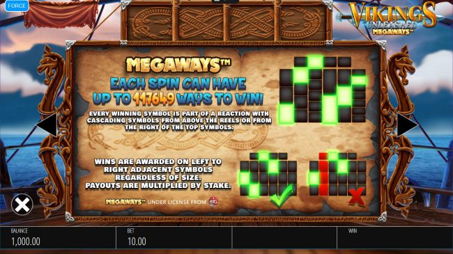 Omnia featuring the Video Slots Vikings Unleashed Megaways with a maximum payout of $250,000