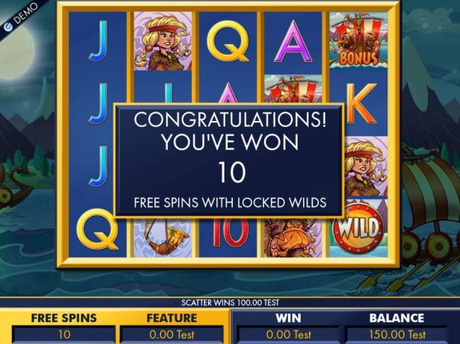 Vikings :: 10 Free Spins with locked wilds awarded.