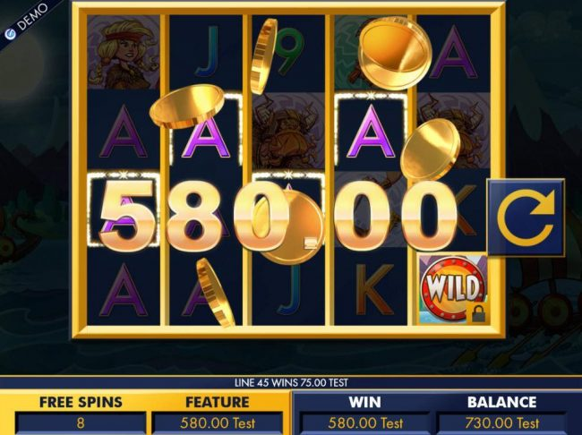 Vikings :: Multiple winning paylines triggers a 580.00 big win during the free spins feature!