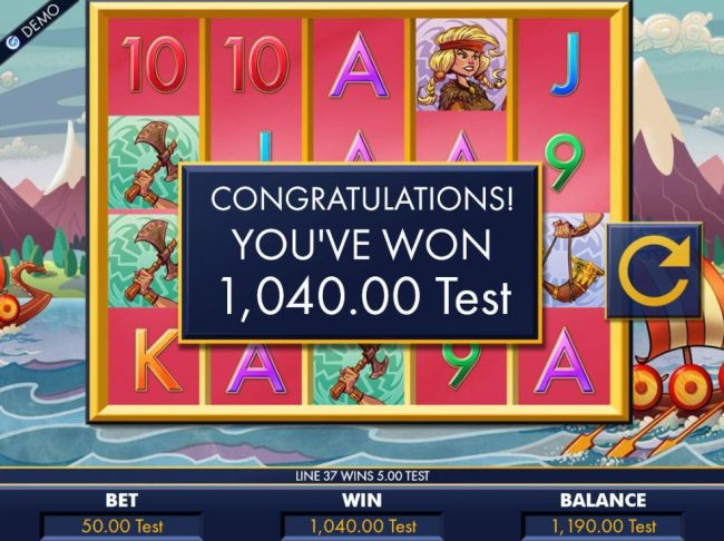 Vikings :: A 1,040.00 paid out for the Free Spins feature.