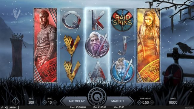 Free Spins featuring the Video Slots Vikings with a maximum payout of $100,000