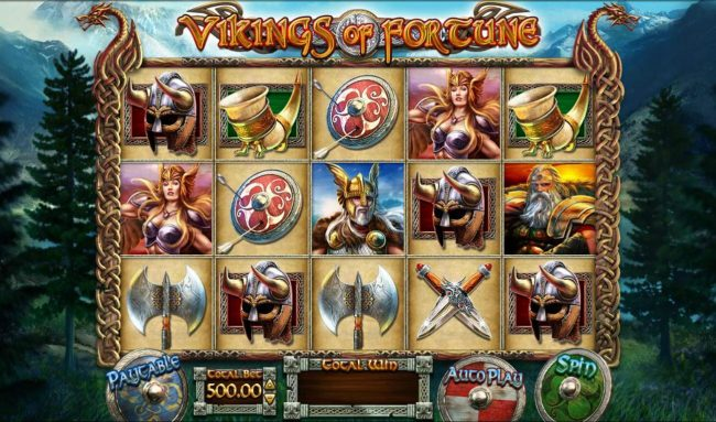 Slots Cafe featuring the Video Slots Vikings of Fortune with a maximum payout of $500,000