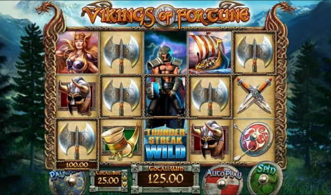 Miami Dice featuring the Video Slots Vikings of Fortune with a maximum payout of $500,000