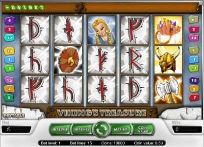 Mongoose Casino featuring the Video Slots Viking's Treasure with a maximum payout of $25,000