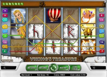 Magik Slots featuring the Video Slots Viking's Treasure with a maximum payout of $25,000