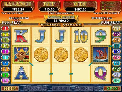 Casino Midas featuring the video-Slots Viking's Voyage with a maximum payout of $250,000