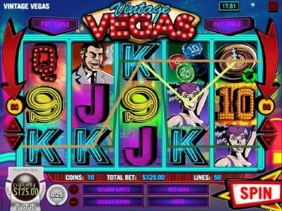 Sahara Sands featuring the Video Slots Vintage Vegas with a maximum payout of $37,500