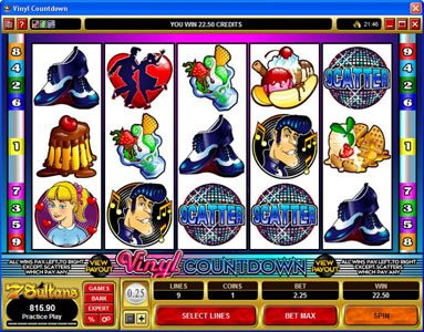Dreamy 7 featuring the Video Slots Vinyl Countdown with a maximum payout of $2,000