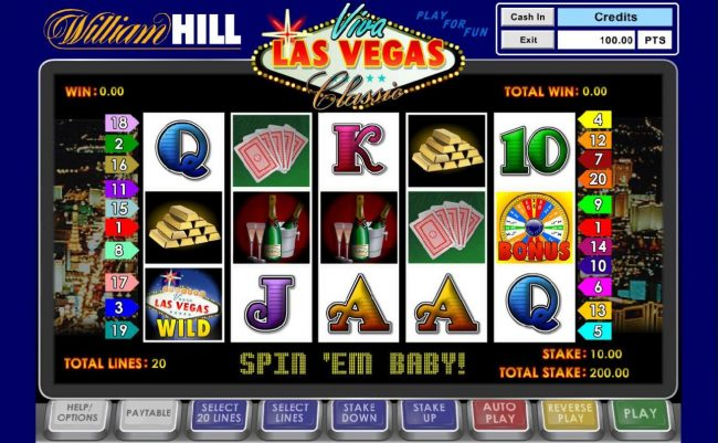 Betfred featuring the Video Slots Viva Las Vegas Classic with a maximum payout of $100,000
