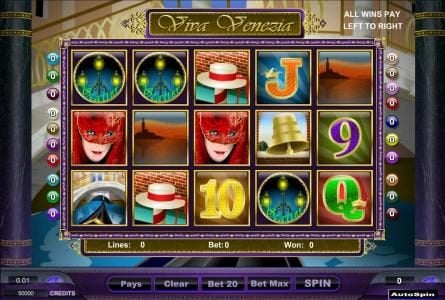 Prime Slots featuring the Video Slots Viva Venezia with a maximum payout of $125,000