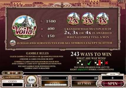 GeoBet featuring the Video Slots Voila! with a maximum payout of $120,000