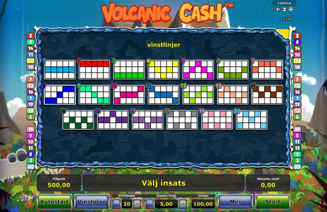 Volcanic Cash :: Paylines 1-20