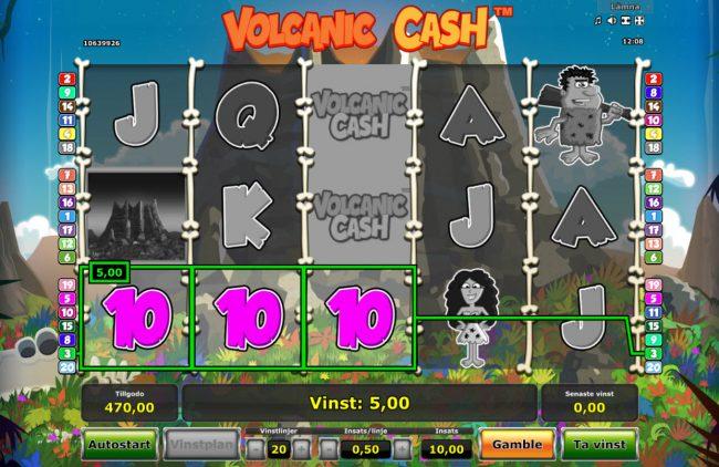 Volcanic Cash :: A winning three of a kind