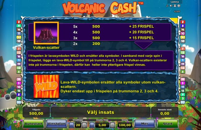 Volcanic Cash :: Wild and Scatter Symbol Rules