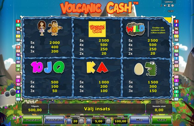 My Bet featuring the Video Slots Volcanic Cash with a maximum payout of $50,000
