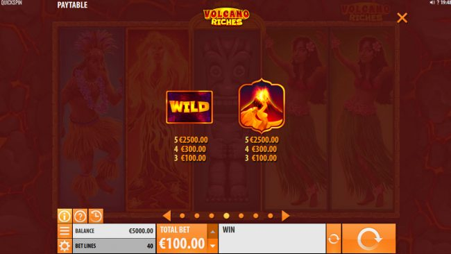 Sin Spins featuring the Video Slots Volcano Riches with a maximum payout of $150,000